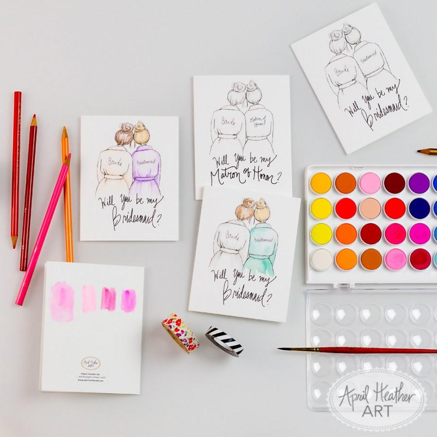 Mariage - COLORING CARDS-Will you be my Bridesmaid?//Maid/Matron of Honor/Flower Girl/Junior Bridesmaid DIY coloring