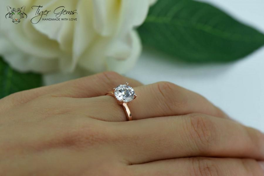 2 carat engagement ring rose solitaire ring man made diamond simulant 4 prong wedding ring bridal ring promise ring sterling silver - 2 Carat Wedding Ring