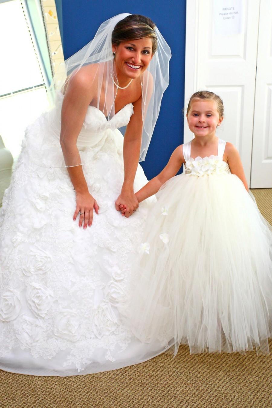 زفاف - Ivory pearl straps flower girl tutu dress, flower girl dress, tutu dress, satin straps