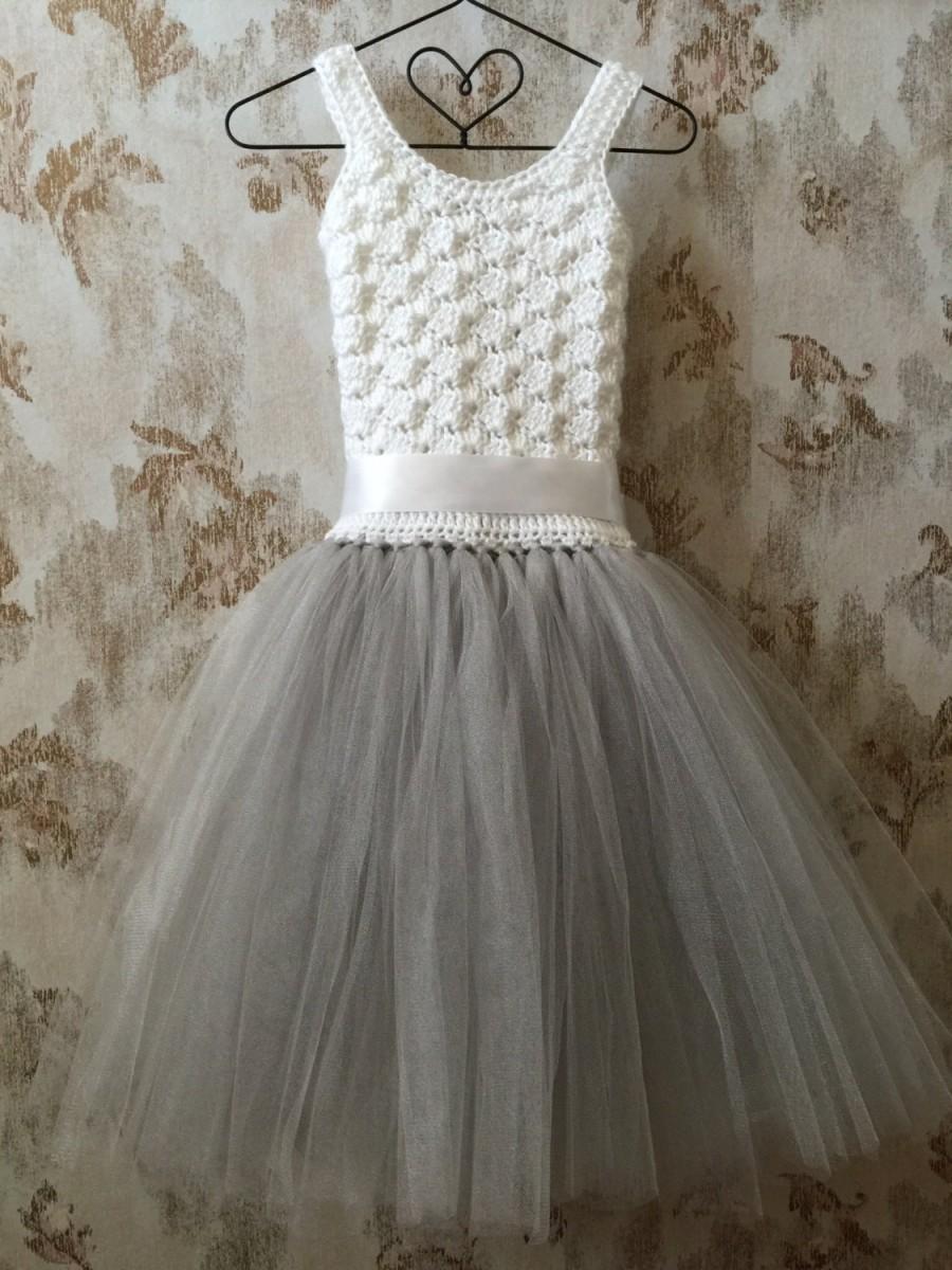 Flower Girl Dress Crochet Tutu Dress Toddler Dress Baby Dress