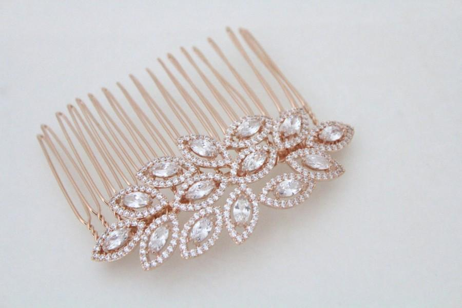Hochzeit - Rose Gold hair comb, Rose Gold Wedding headpiece, Crystal Leaf hair comb, Bridal hair accessories, Rose Gold hair clip, hair piece  SCARLETT