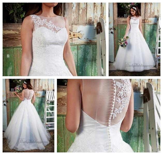 Wedding - Stunning Illusion Neckline & Back A-line Lace Over Wedding Dress