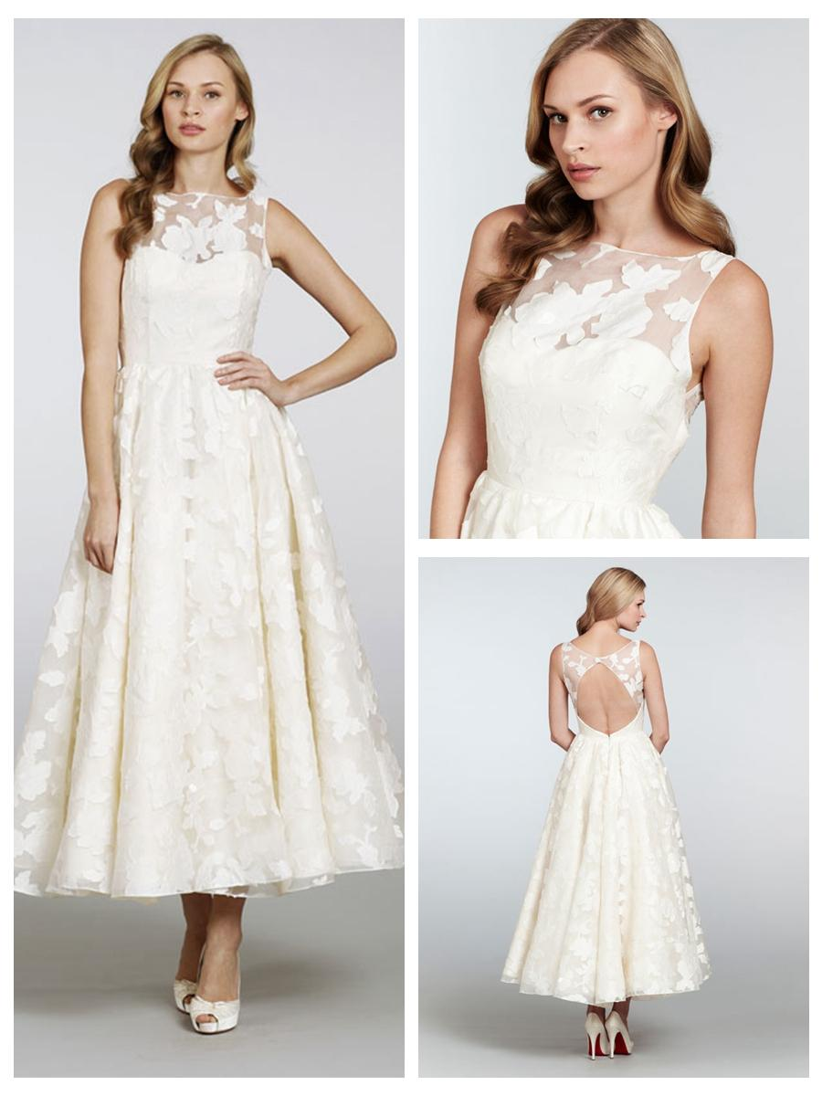 زفاف - Tea-length Bateau Neckline Open Back Wedding Dress with Circular Skirt