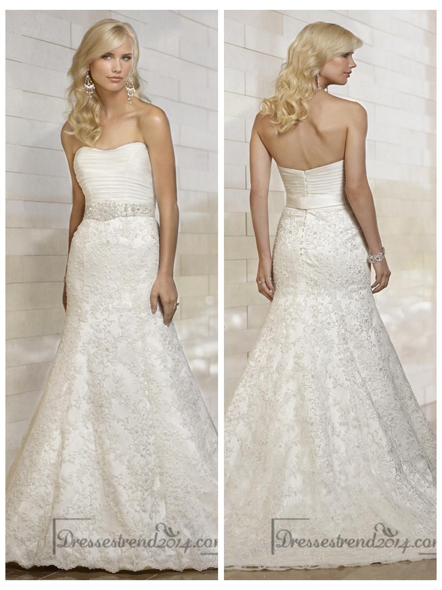 زفاف - Stunning Strapless Mermaid Pleated Bodice Lace Appliques Skirt Wedding Dresses