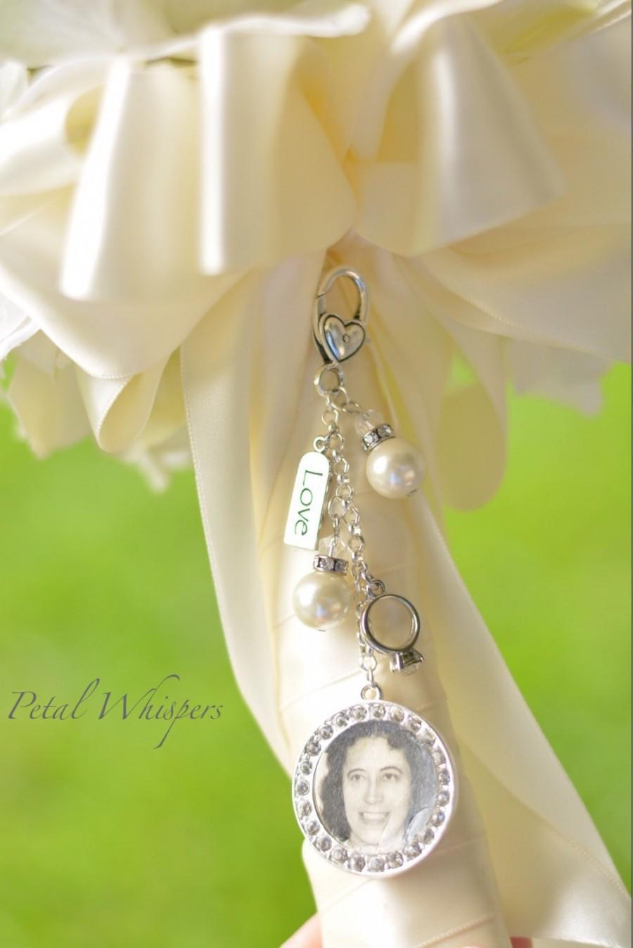 Mariage - Bouquet Charm -  Bridal Bouquet Charm - Bride Picture Charm -Bridal Gift -  Bridal Accessories - Wedding Photo Charm - Gift For Bride -