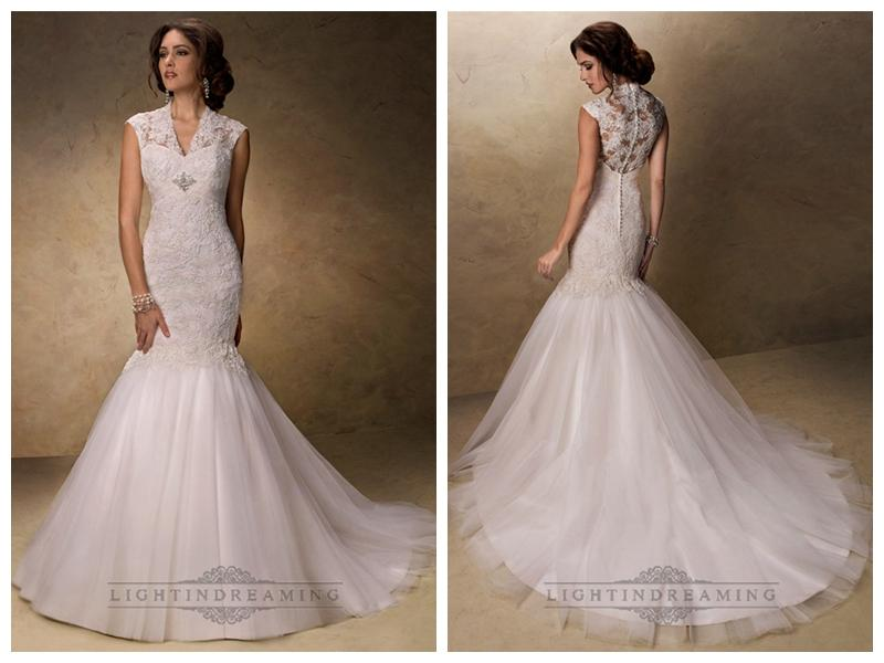 Wedding - Fit and Flare V-neck Lace Wedding Dresses with Illusion Sleeves