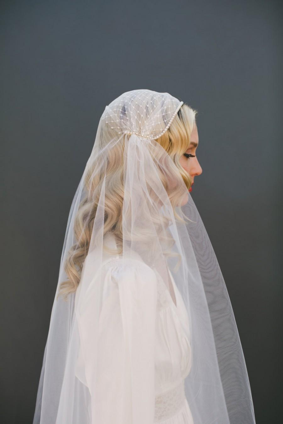 Hochzeit - GOLD Juliet Cap Veil, Russian Net Veil Crystal Edge Veil, Ivory Tulle Veil Gatsby BOHO Veil Bohemian Veil Waltz Length Veil, Long Veil #1208