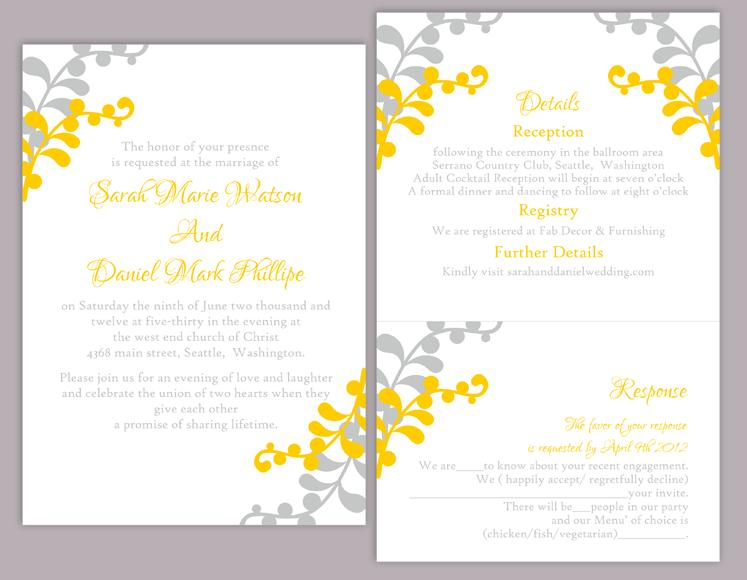 Diy Wedding Invitation Template Set Editable Word File Instant Printable Leaf Yellow Gold Gray
