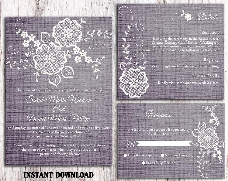 Wedding - DIY Lace Wedding Invitation Template Set Editable Word File Download Printable Rustic Wedding Invitation Vintage Floral Blue Invitation