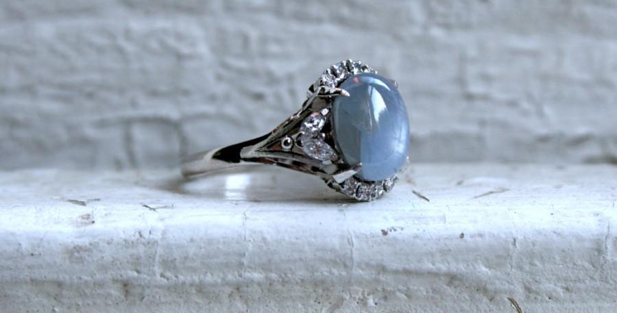 زفاف - Deco Platinum Star Sapphire and Diamond Engagement Ring - 4.48ct.