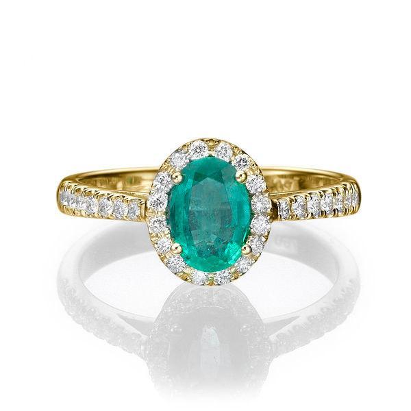 Natural Emerald Ring 14K Gold Ring Cushion Halo Engagement Ring