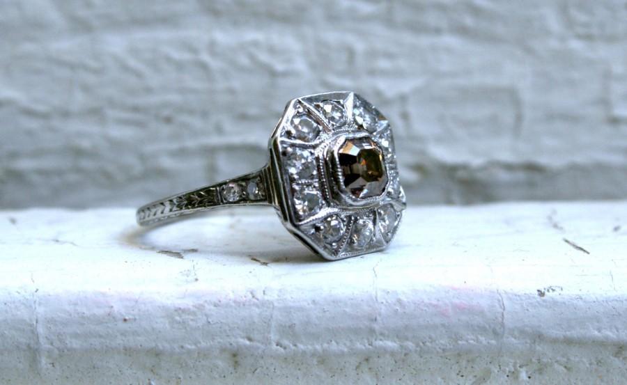 زفاف - Antique Platinum Pave Diamond and Cognac Diamond Halo Ring - 1.79ct.