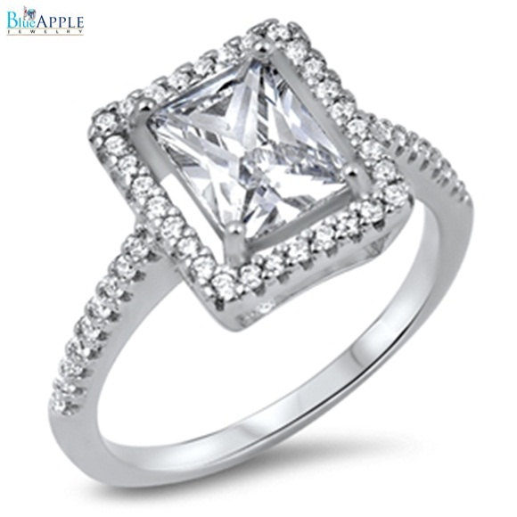 Mariage - Radiant Cut Square Round Russian Ice Diamond CZ Halo Dazzling Solitaire Accent Solid 925 Sterling Silver Wedding Engagement Ring