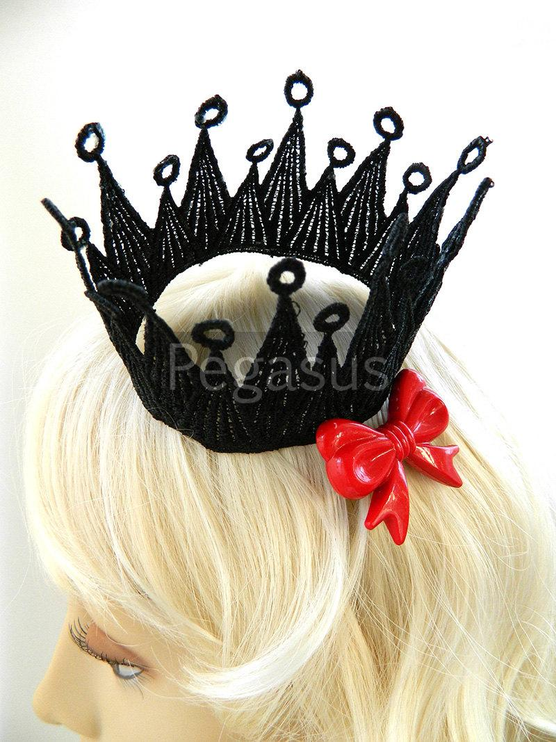 Wedding - Black Pointed Venice lace Crown (1 Crown) Mini princess crown base for newborn photos, flower girls, first communion, or brides