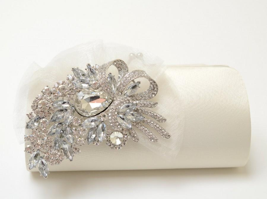 Mariage - Rhinestone Bridal Clutch in Ivory - Bridesmaid Clutch - Formal Clutch - Rhinestone Clutch - Organza Flower SALE