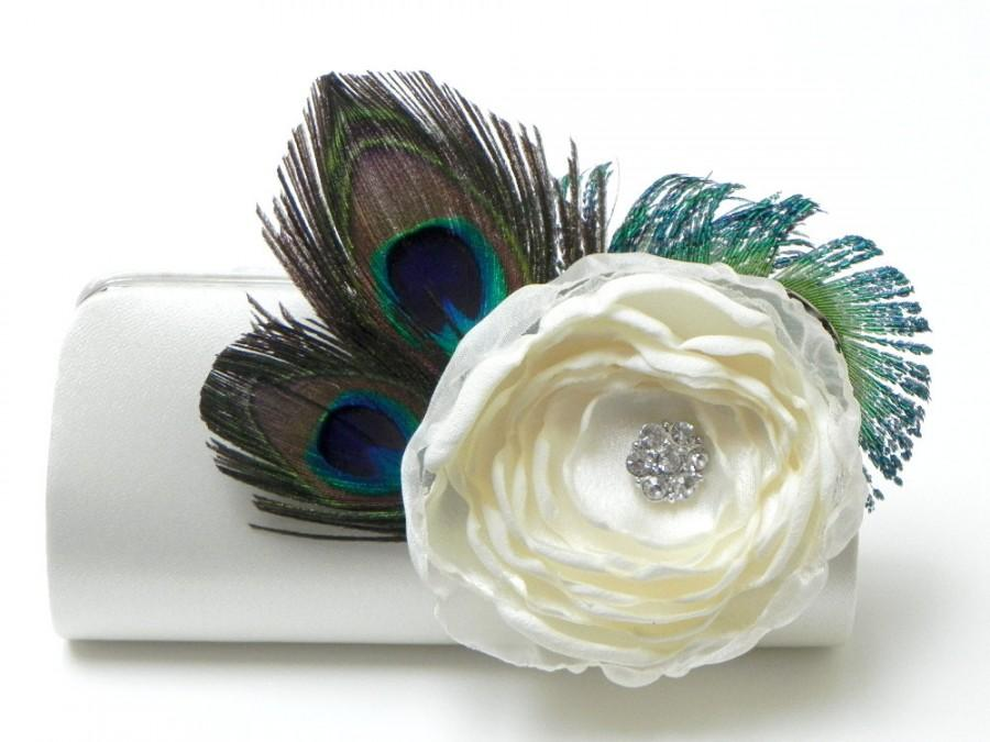 Mariage - Ivory Bridal Clutch - Bridesmaid Clutch - Peacock Feather Clutch With Rhinstones  - Kisslock Snap Bouquet Flower Clutch