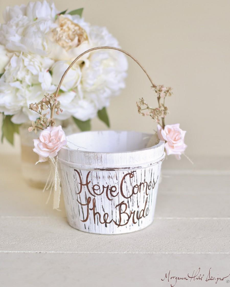 Hochzeit - Here Comes The Bride Flower Girl Basket Rustic Shabby Chic Wedding (Item Number 140397) NEW ITEM
