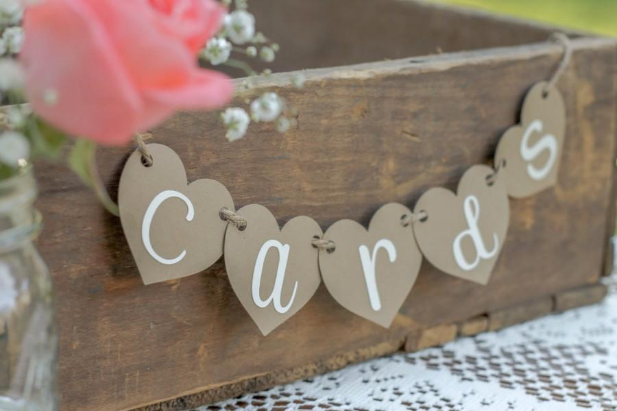 Hochzeit - Mini Cards Banner-Cards Banner- Cards Sign- Rustic Wedding- Shabby Chic Wedding- Reception Sign- Cards box