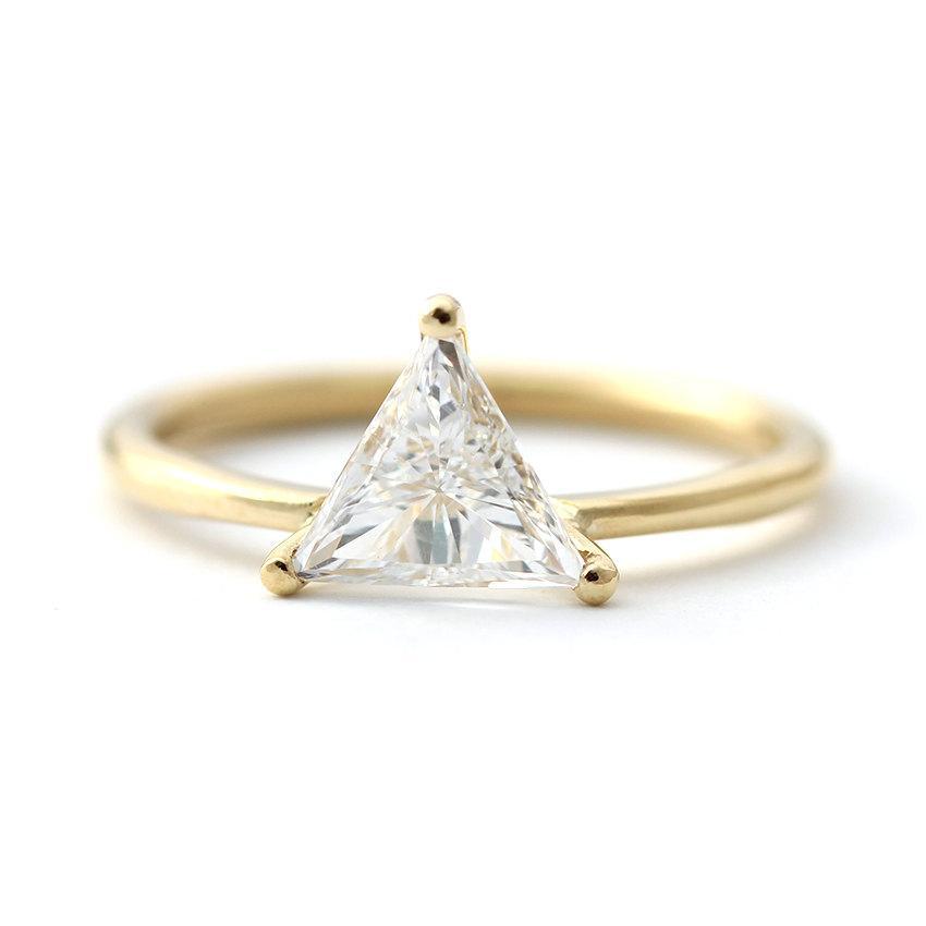 Mariage - Trillion Diamond Engagement Ring - Diamond Ring - 0.5 Carat Trillion Diamond - 18k Solid Gold