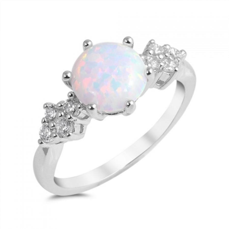 Round Cut White Opal Ring Solid 925 Sterling Silver Lab Australian Russian Clear Diamond Cz Accent Wedding Engagement