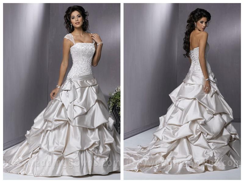 Hochzeit - Vintage A-line Square Elastic Woven Satin Floor-Length Chapel Train Wedding Dress