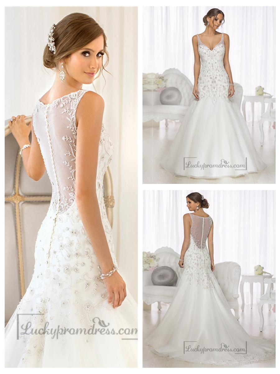 Beaded illusion back wedding dress dress fric ideas for Wedding dress illusion back