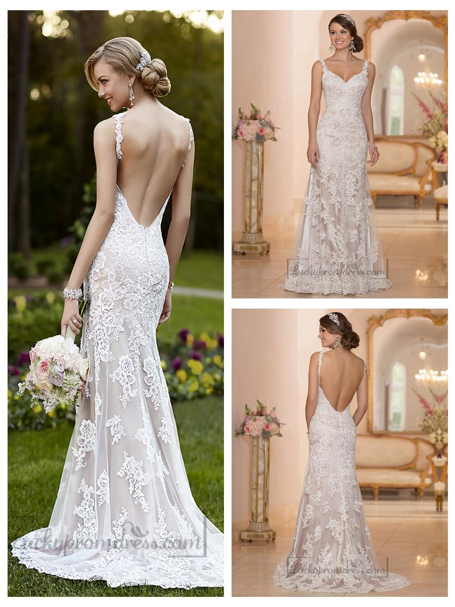 Elegant Straps Sheath Lace Over Wedding Dress With Low Back ...