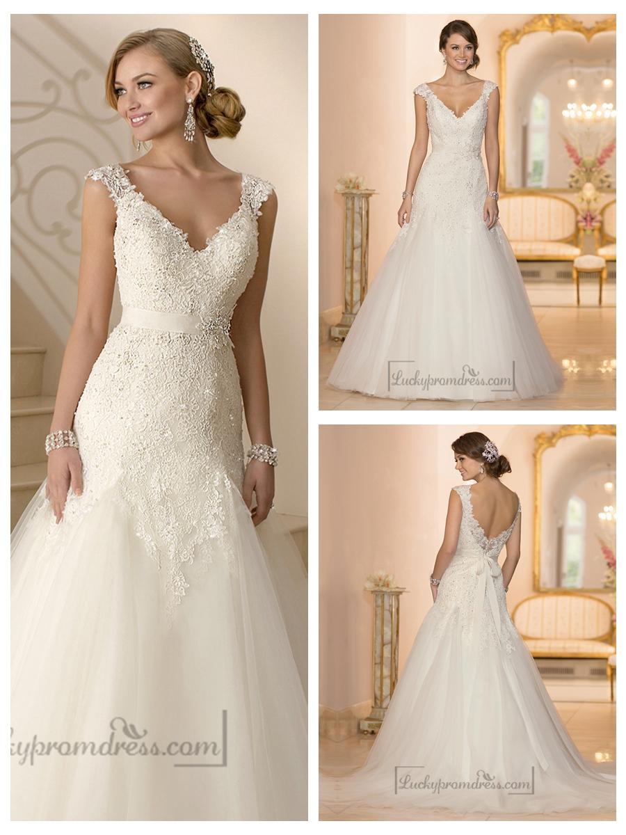 Cap sleeves v neck a line lace beaded deep v back wedding for Deep back wedding dress