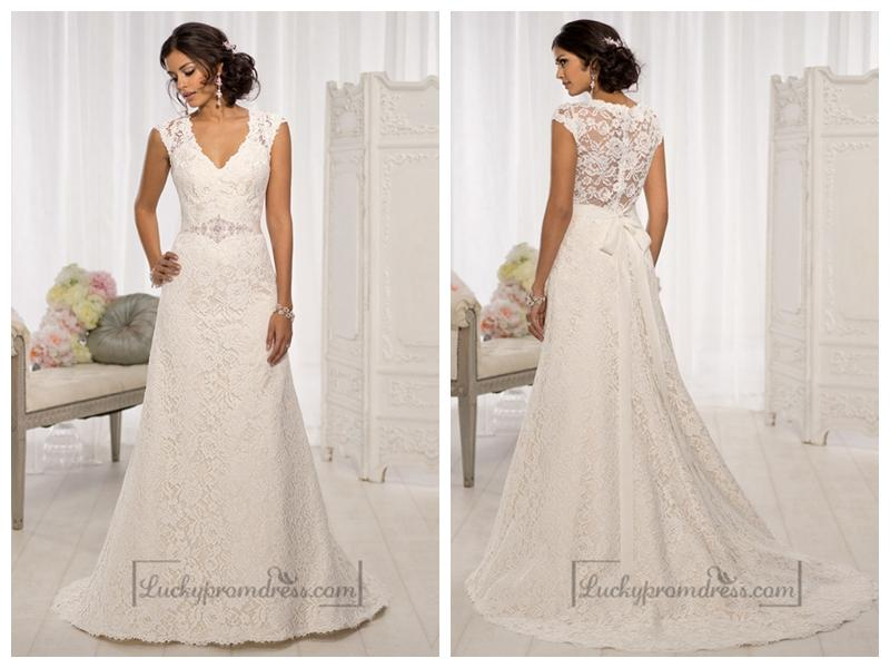 Elegant Cap Sleeves V-neck A-line Wedding Dresses With Illusion Back ...