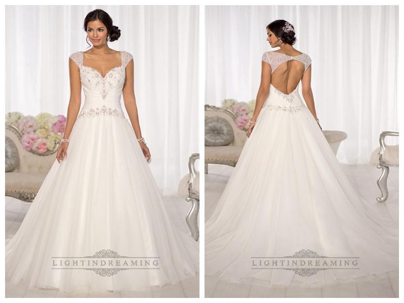 Mariage - Beaded Cap Sleeves Sweetheart A-line Keyhole Back Wedding Dresses