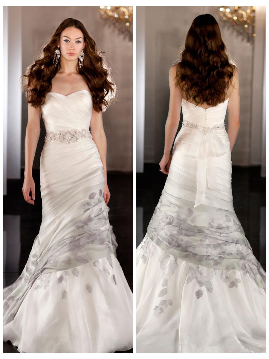 Silk Organza Fit Flare Sweetheart Asymmetrical Ruched Wedding Dress ...