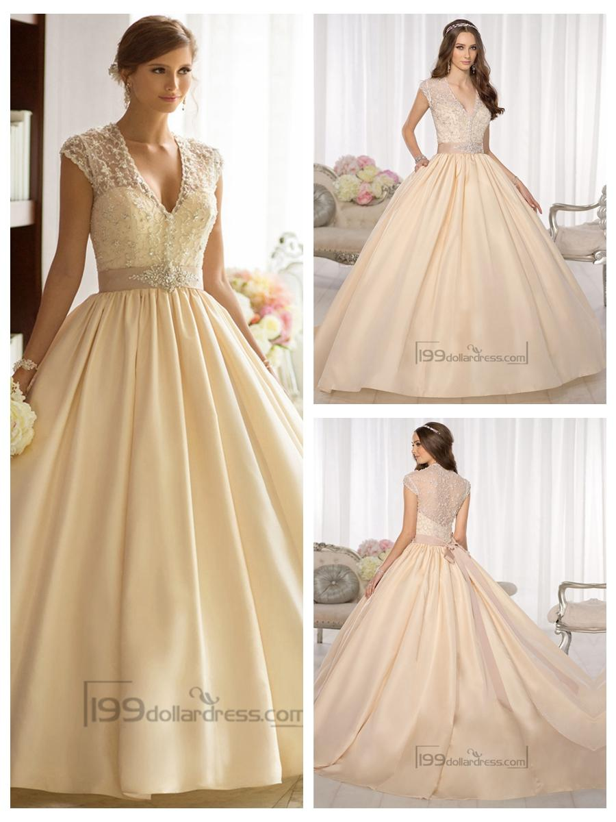زفاف - Elegant Cap Sleeves V-neck Princess Ball Gown Wedding Dresses with Beaded Illusion Jacket