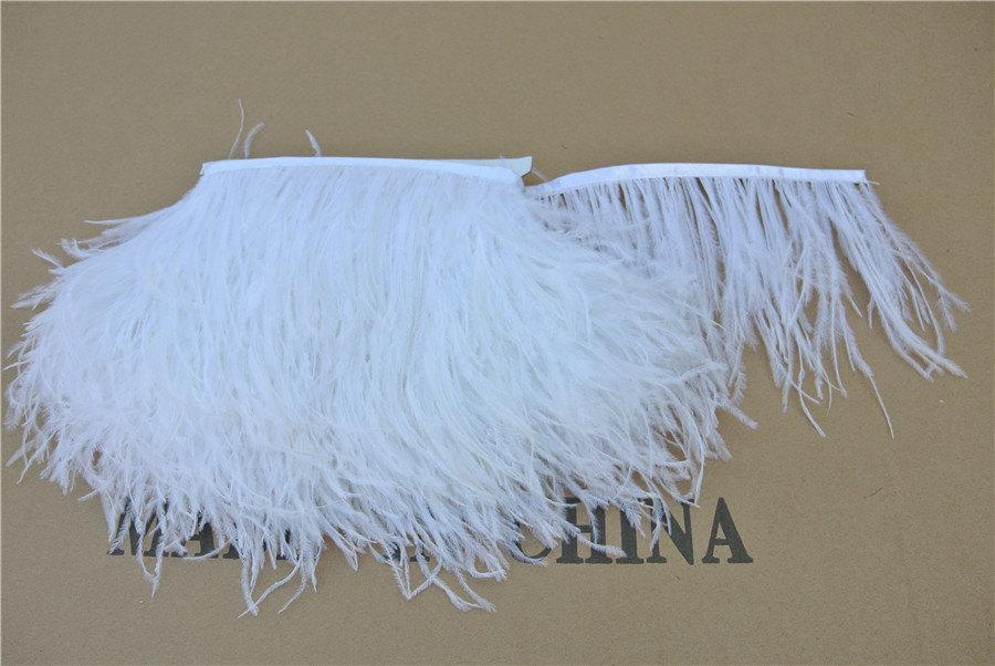 Feather Fringe Trim 2 Yards White