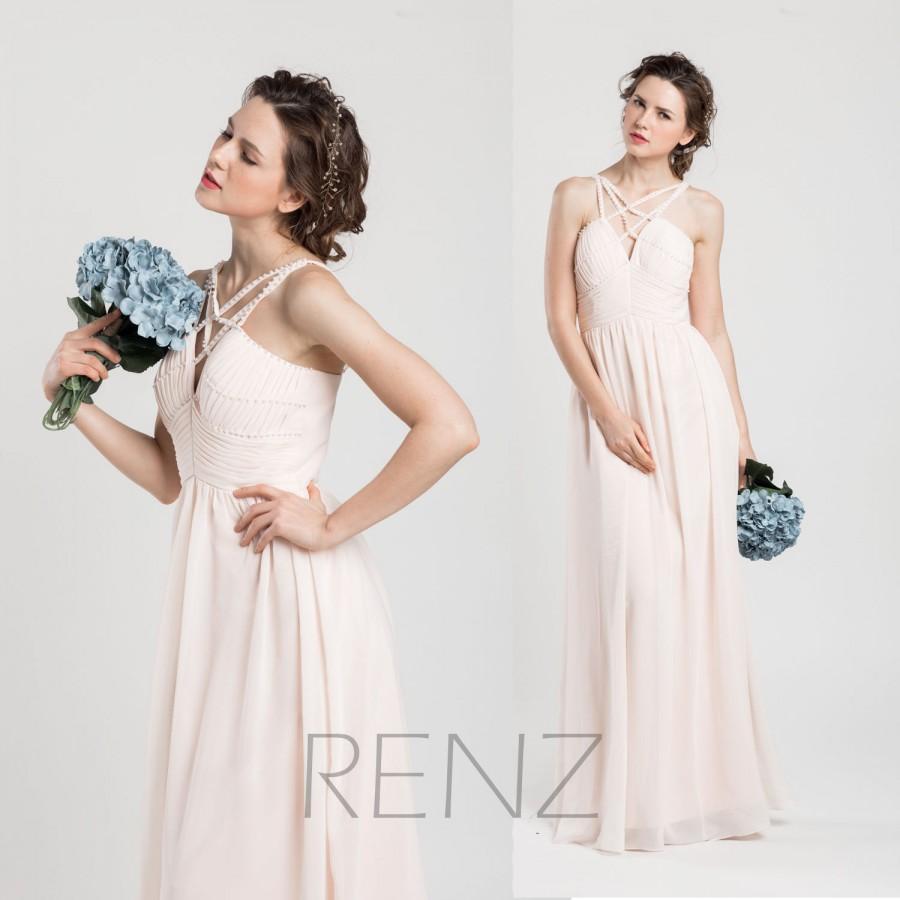 Mariage - 2015 Long Bridesmaid dress, Light Peach Wedding dress Chiffon Pearls, Empire Pleated Formal dress, Spaghetti Strap floor length (F033A)