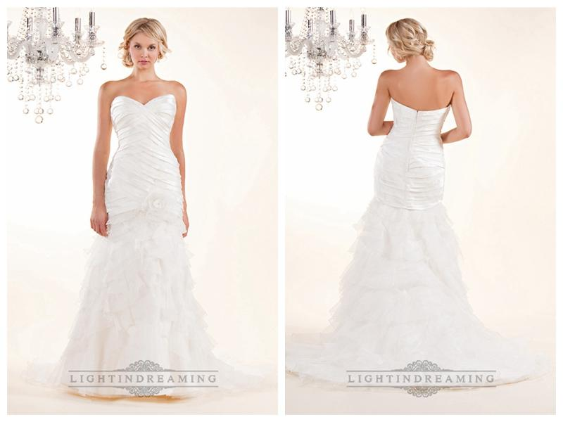 Hochzeit - Strapless Sweetheart Wedding Dresses with Pleated Bodice and Layered Skirt