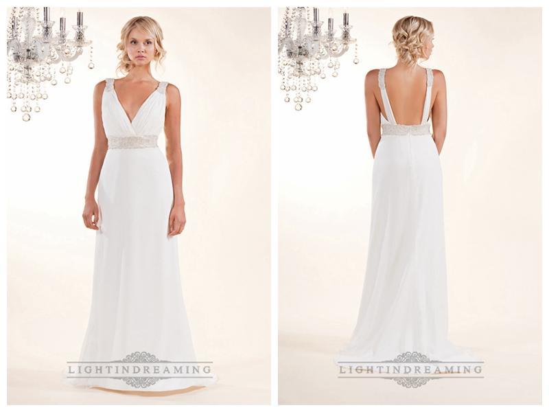 Wedding - Sheath Plunging V-neck Wedding Dresses with Beaded Straps and Belt