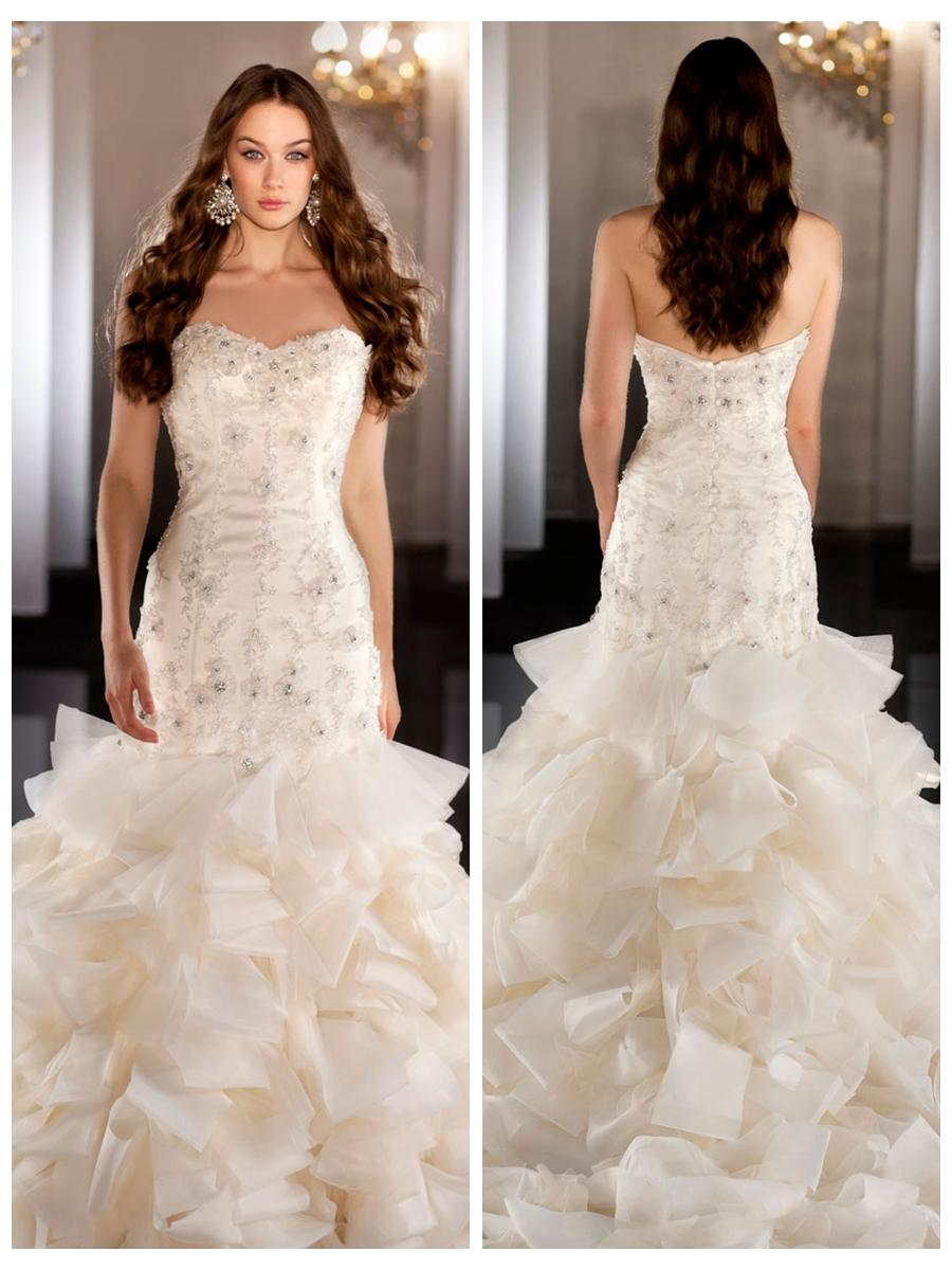 Свадьба - Tulle Organza Sweetheart Beading Ball Gown Wedding Dress