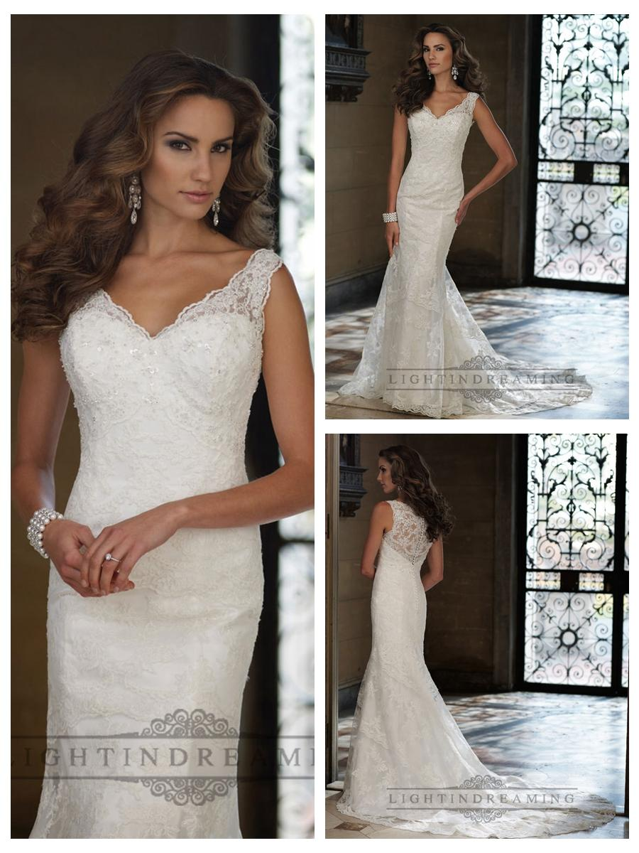 Boda - Sleeveless Fit and Flare V-neck Wedding Dresses with Illusion Lace Back