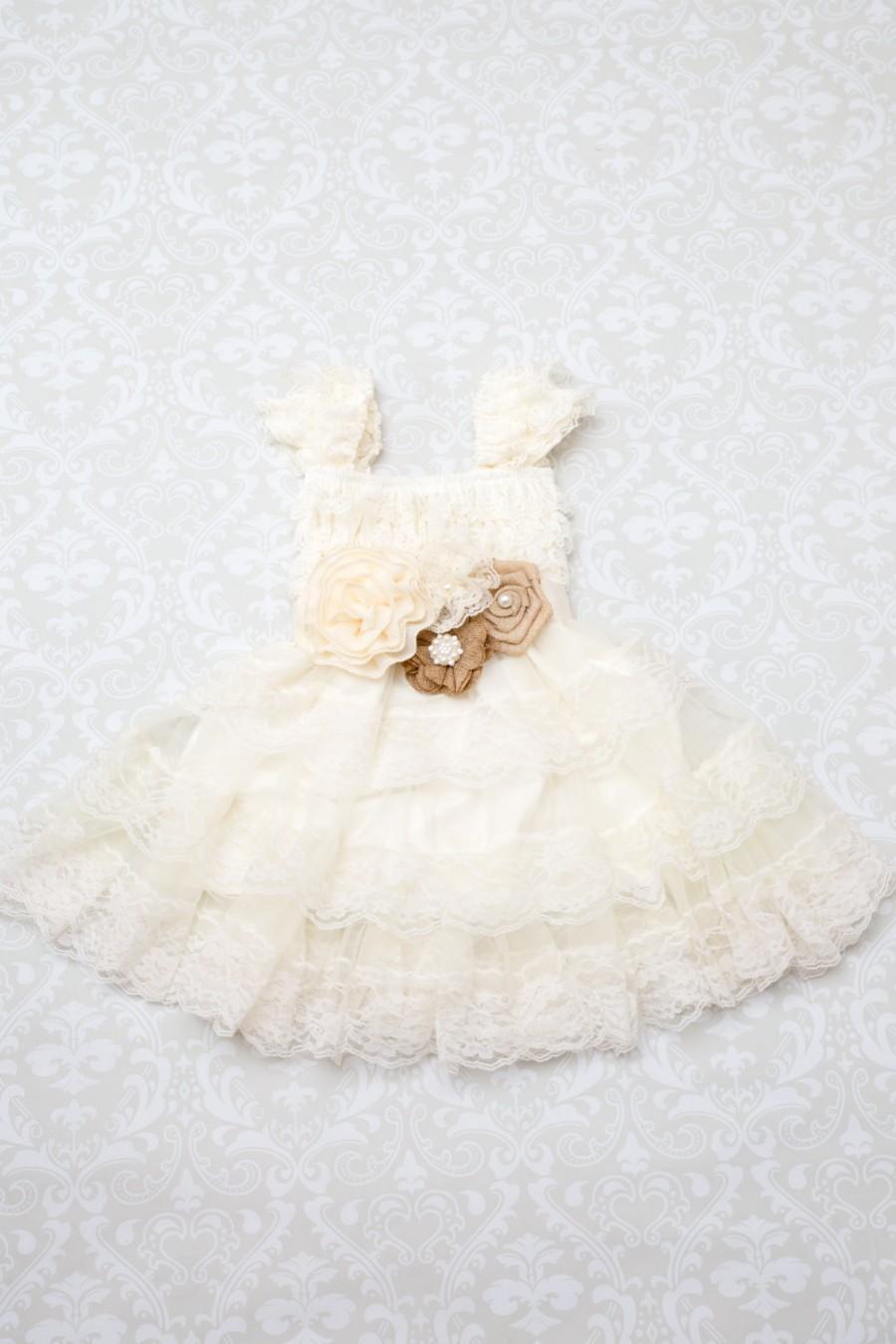 زفاف - Burlap Ivory Lace Flower Girl Dress -Ivory Lace Cap Sleeve Dress -Rustic Flower Girl Dress- Shabby Chic Dress - Burlap Lace Dress - Peals