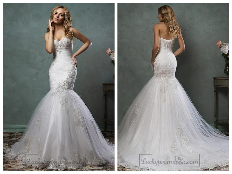 c5cec986e465 Strapless Sweetheart Embroidered Bodice Mermaid Wedding Dress ...