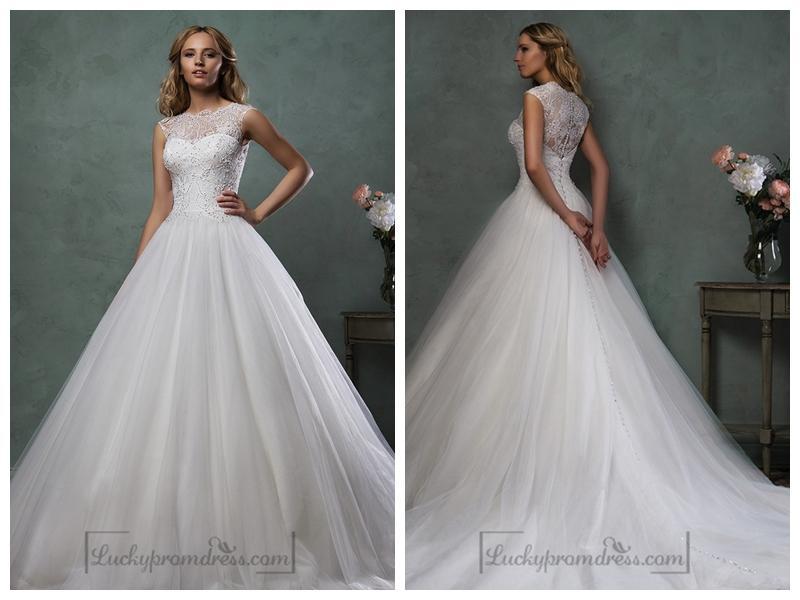 Свадьба - Sleeveless Bateau Neckline Beaded Bodice A-line Wedding Dress