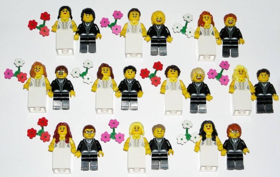 LEGO Bride And Groom Minifigure Wedding Cake Topper Custom YOU CHOOSE The Hair Head Flowers