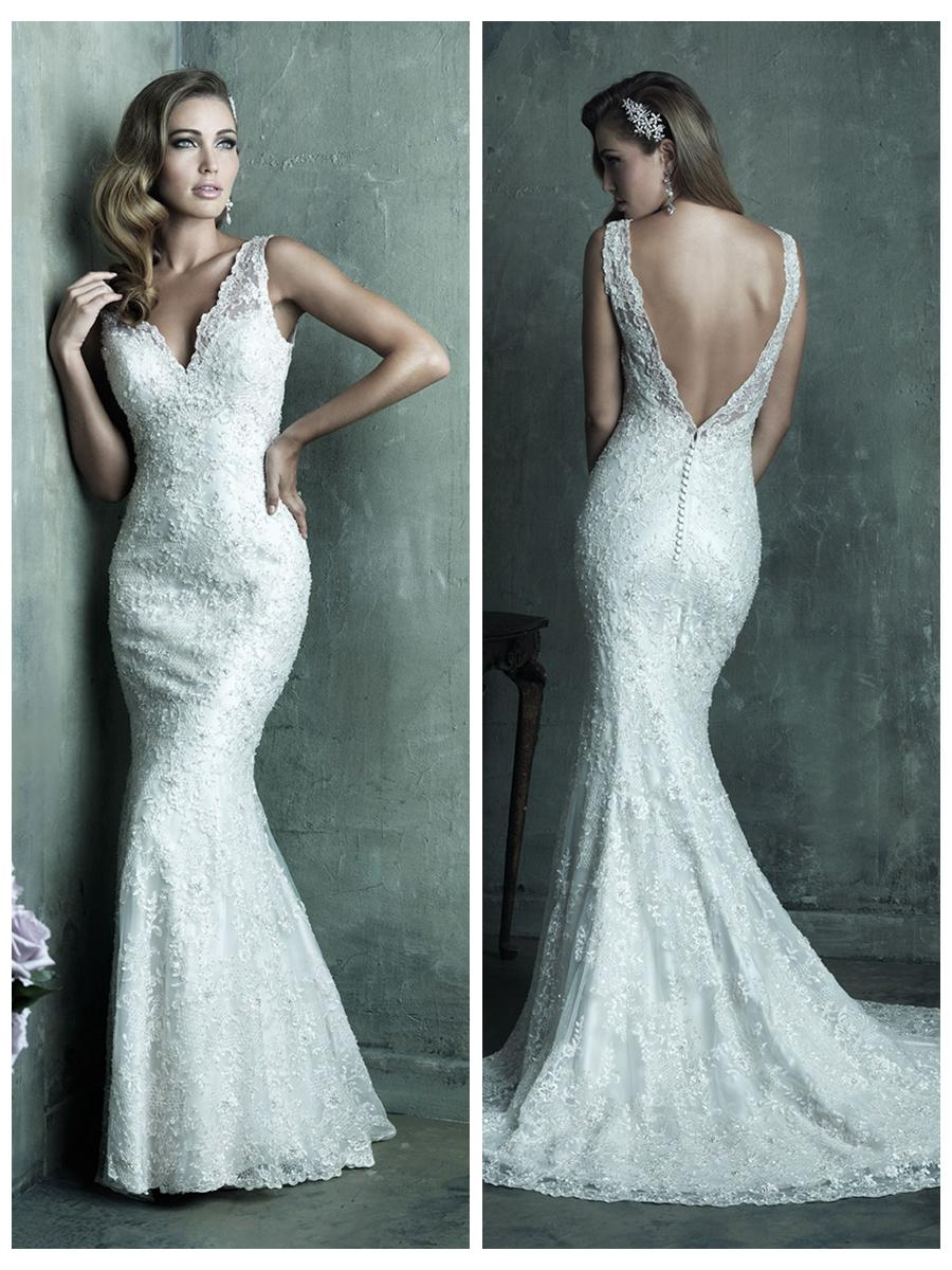 Dreamy Lace Sheath V Neck Wedding Dress With Deep Back