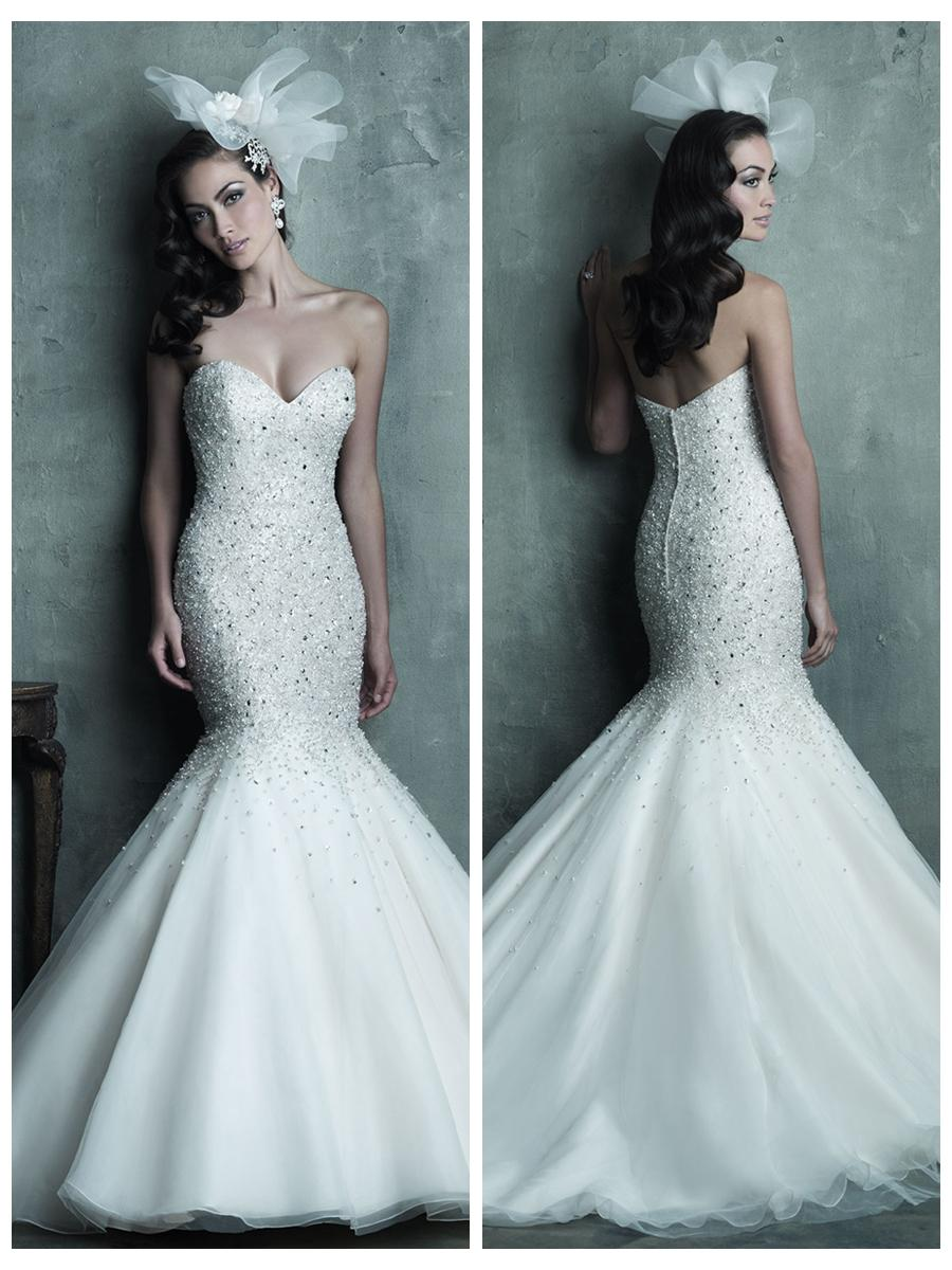 Strapless sweetheart beaded bodice mermaid wedding dress for Beading for wedding dress