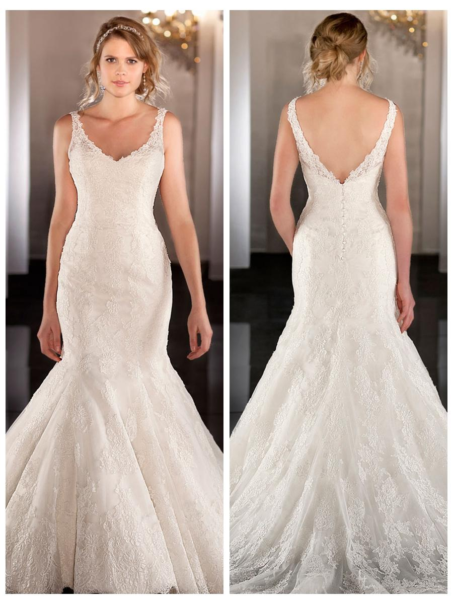 Elegent Strap Fit Flare Lace Mermaid Wedding Dress #2453903 - Weddbook