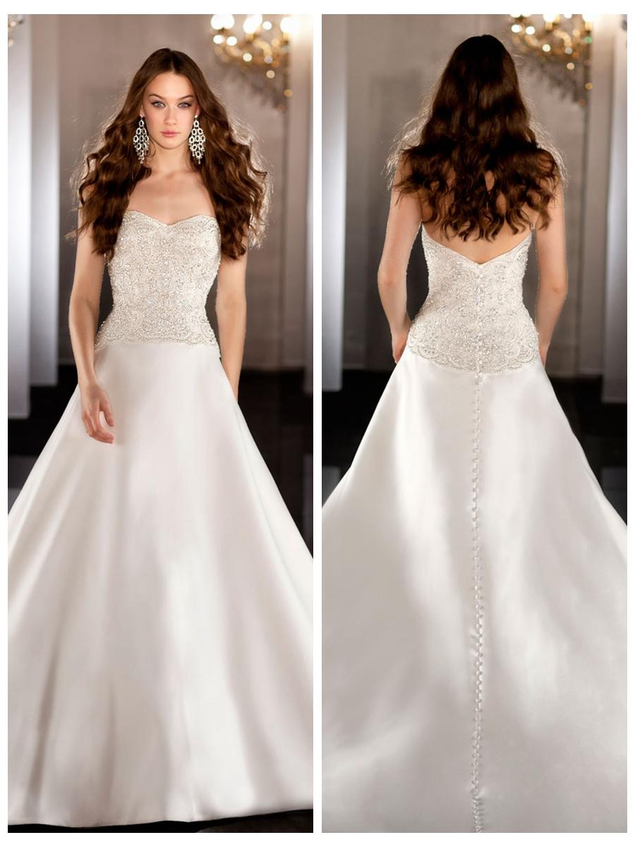 زفاف - Strapless A-line Sweetheart Beading Bodice Wedding Dress with Traditional Chapel Train