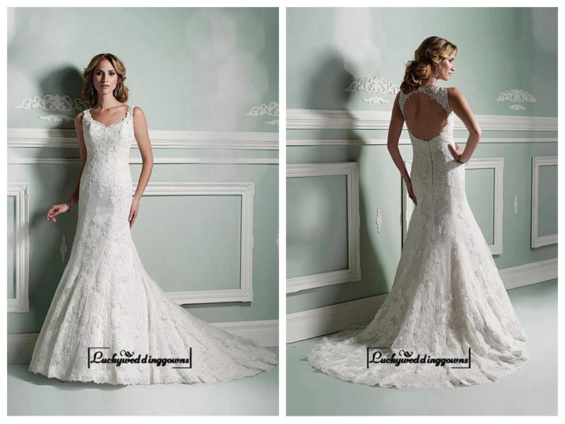 Wedding - Alluring Polka Dot Tulle & Satin Square Neckline Natural Waistline A-line Wedding Dress