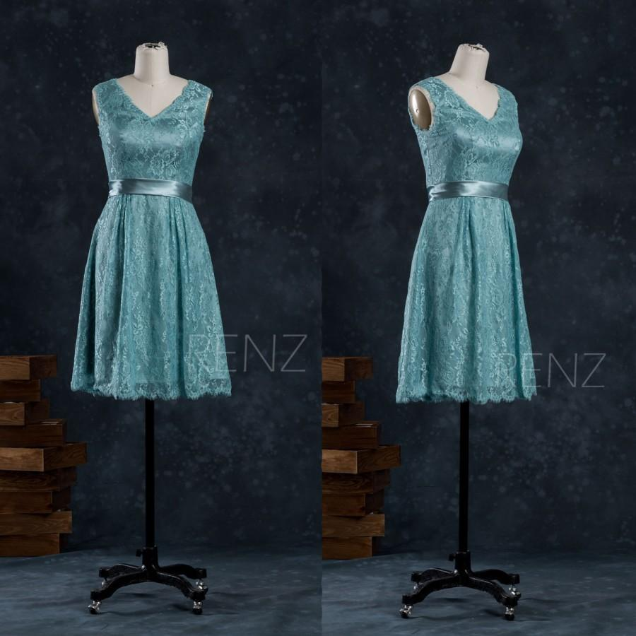 Mariage - 2015 Teal Bridesmaid dress, Womens Cocktail dress, Short Teal Lace Wedding dress, A Line Formal dress knee length (FL011A)