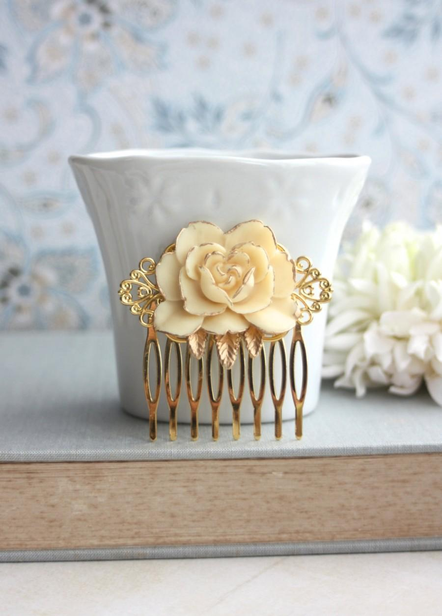 Свадьба - Ivory Flower Gold Comb. Vintage Style Ivory Rose Gold Hair Comb. Rustic Ivory Rose on Gold Hair Wedding Comb. Bridesmaids Gift. Gold Wedding
