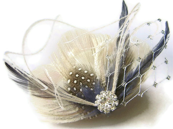 Mariage - Peacock Hair Clip ENGLISH FOG Ivory and Smoky Blue Feather and Rhinestone Wedding Hair Fascinator Clip Bridal Party with Silver Netting